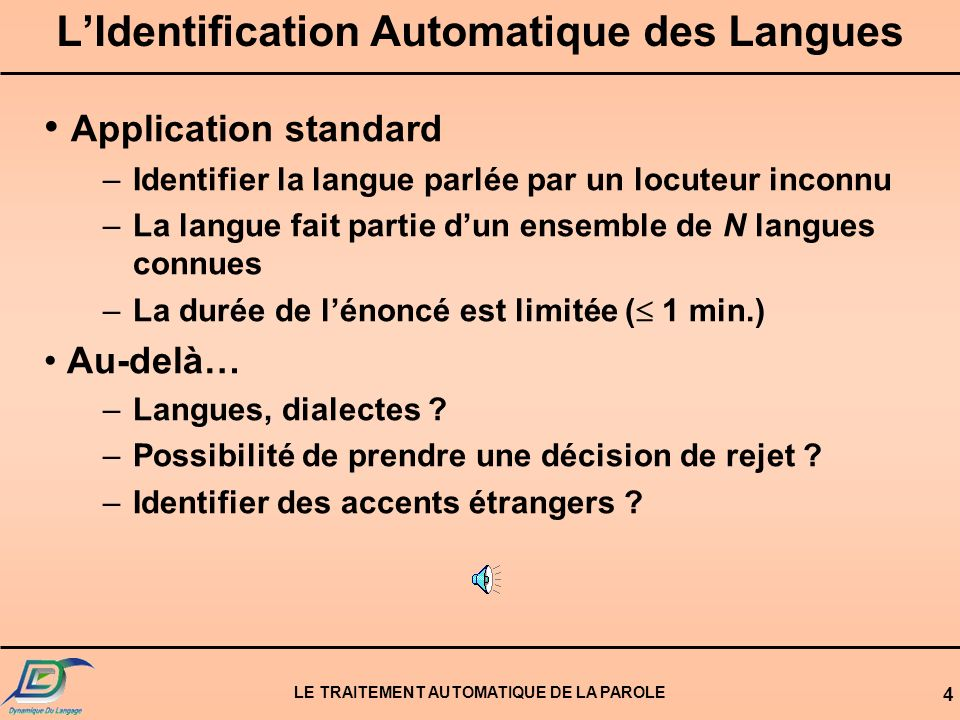 L'Identification Automatique des Langues