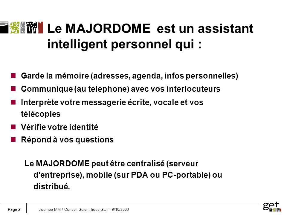Le MAJORDOME est un assistant intelligent personnel qui :