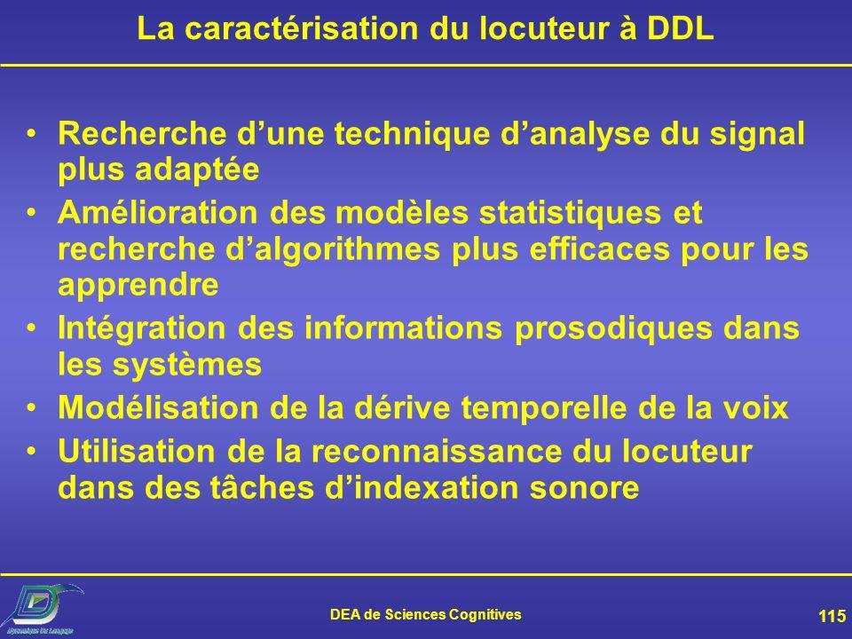La caractérisation du locuteur à DDL