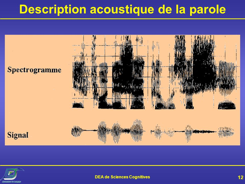 Description acoustique de la parole