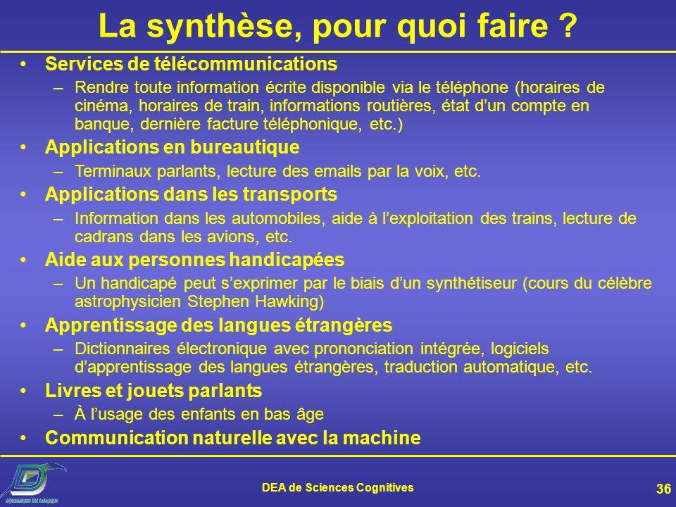 La synthèse, pour quoi faire DEA de Sciences Cognitives