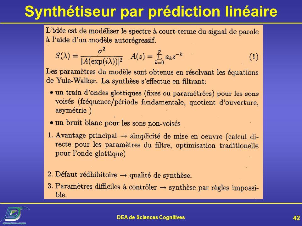 Synthétiseur par prédiction linéaire DEA de Sciences Cognitives