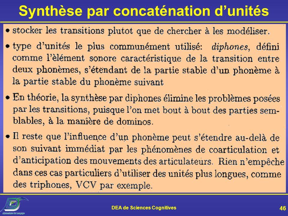 Synthèse par concaténation d'unités DEA de Sciences Cognitives