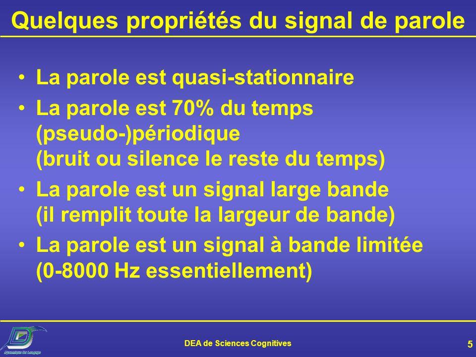 Quelques propriétés du signal de parole