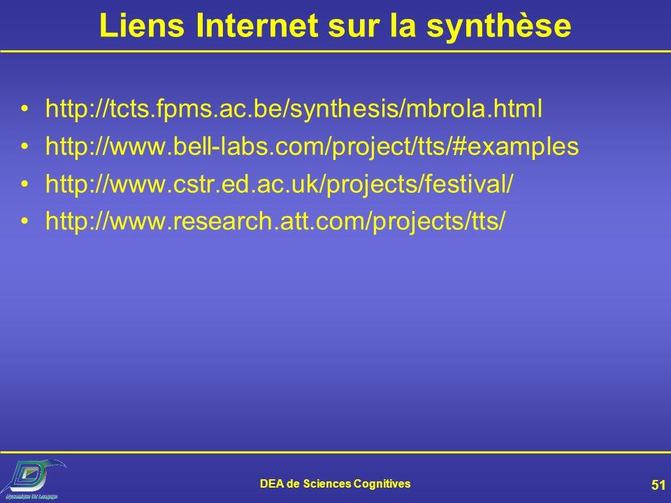 Liens Internet sur la synthèse