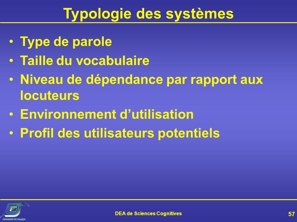 Typologie des systèmes DEA de Sciences Cognitives