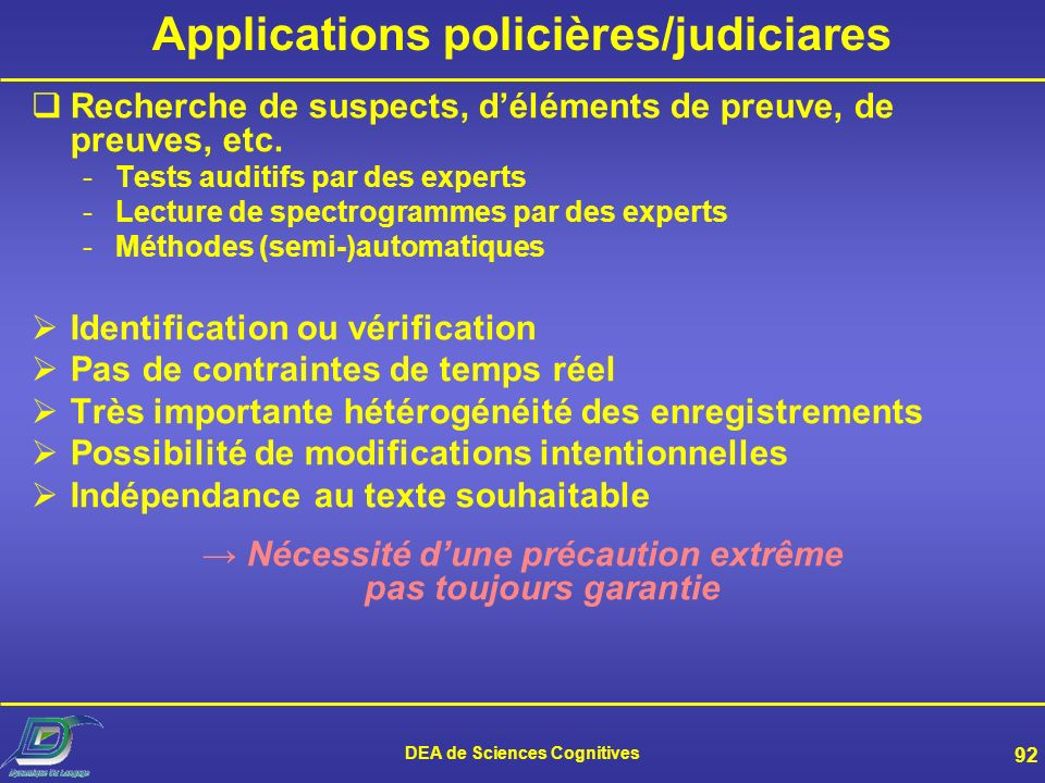 Applications policières/judiciares