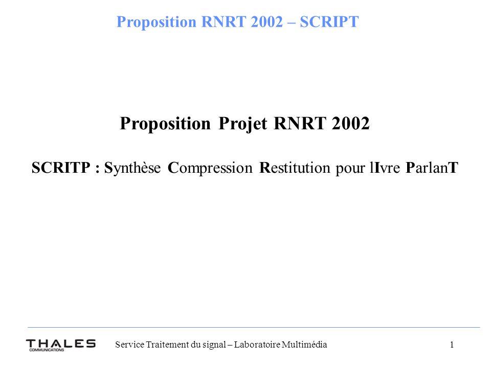 Proposition Projet RNRT 2002