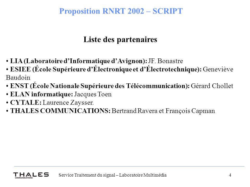 Liste des partenaires LIA (Laboratoire d'Informatique d'Avignon): JF. Bonastre.
