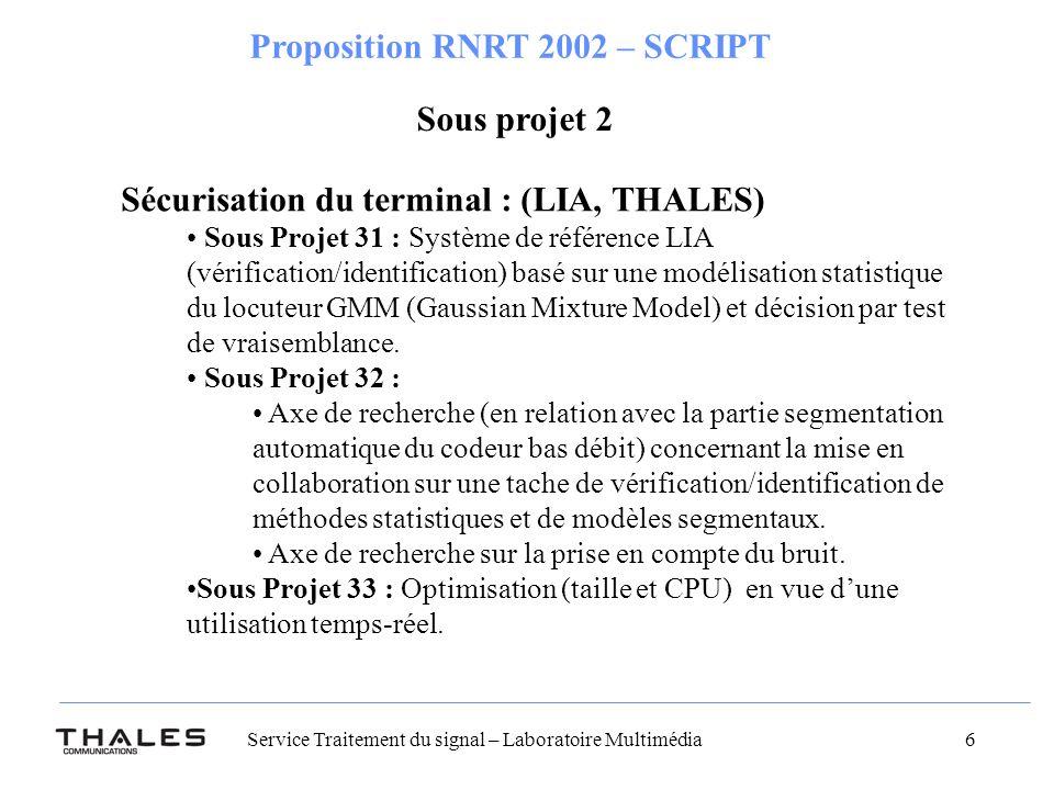 Sécurisation du terminal : (LIA, THALES)