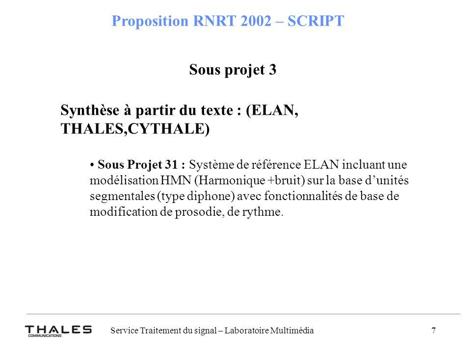 Synthèse à partir du texte : (ELAN, THALES,CYTHALE)