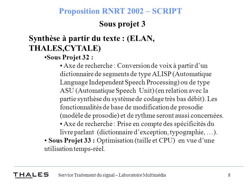 Synthèse à partir du texte : (ELAN, THALES,CYTALE)