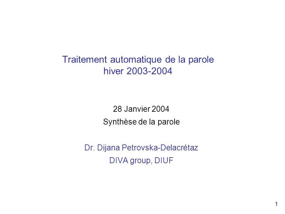 Traitement automatique de la parole hiver 2003-2004