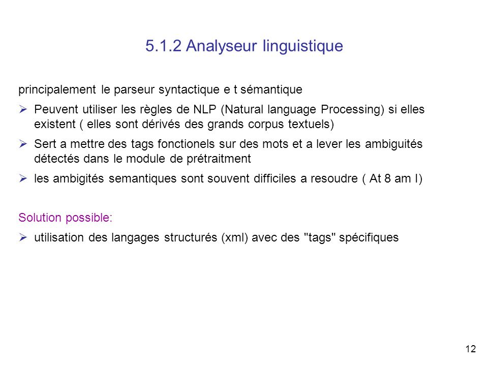 5.1.2 Analyseur linguistique