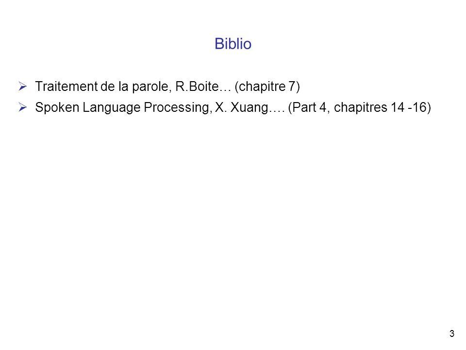 Biblio Traitement de la parole, R.Boite… (chapitre 7)