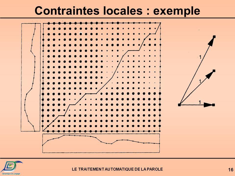Contraintes locales : exemple LE TRAITEMENT AUTOMATIQUE DE LA PAROLE