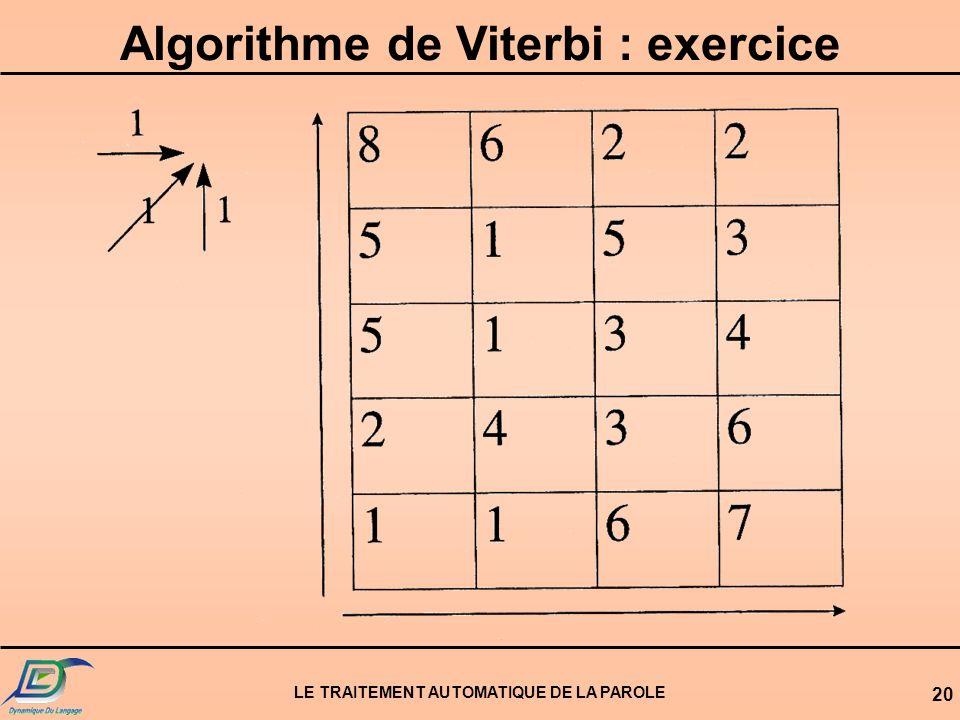 Algorithme de Viterbi : exercice