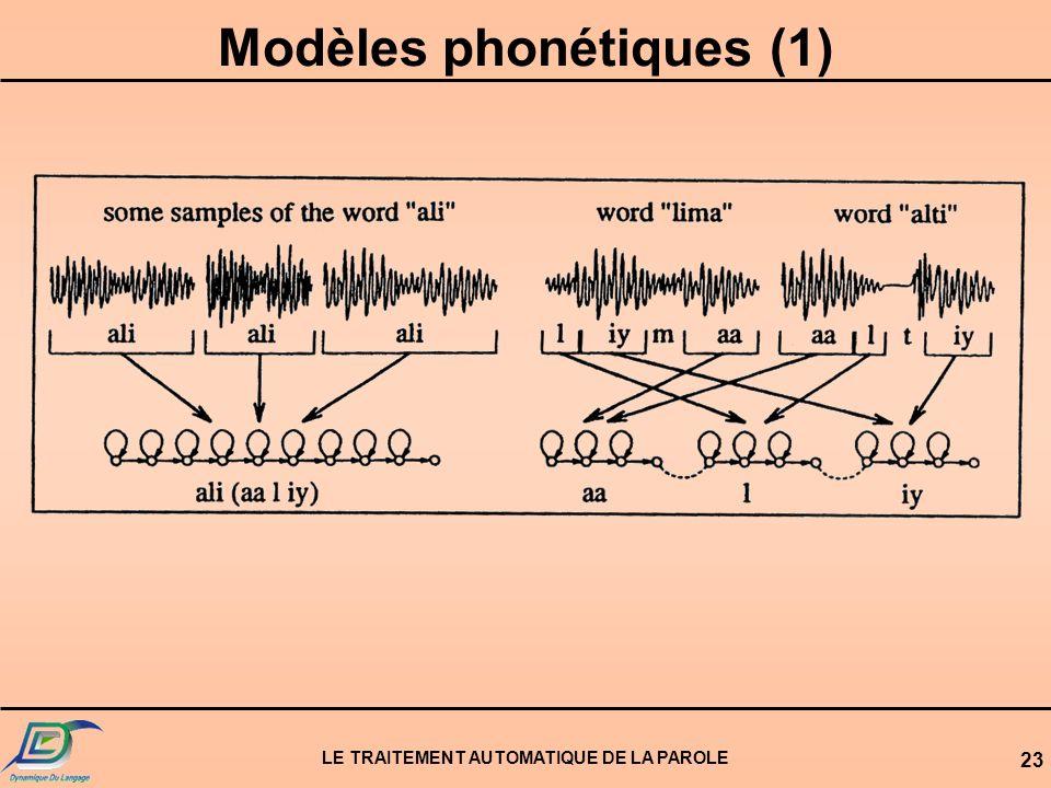 Modèles phonétiques (1) LE TRAITEMENT AUTOMATIQUE DE LA PAROLE