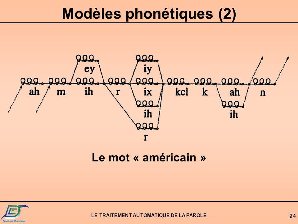 Modèles phonétiques (2) LE TRAITEMENT AUTOMATIQUE DE LA PAROLE