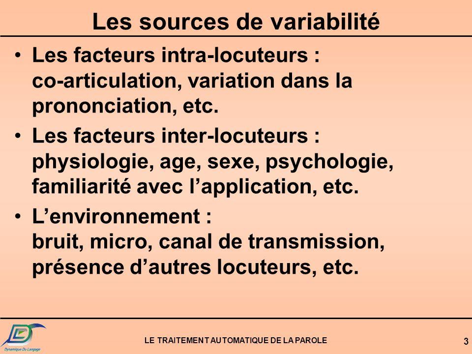 Les sources de variabilité LE TRAITEMENT AUTOMATIQUE DE LA PAROLE