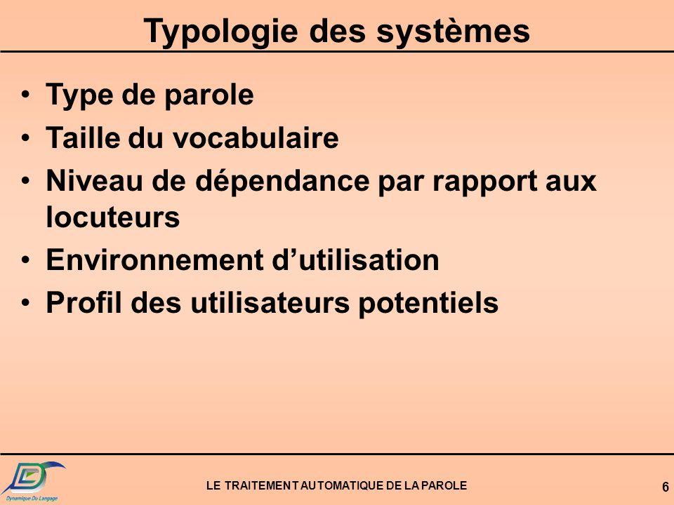 Typologie des systèmes LE TRAITEMENT AUTOMATIQUE DE LA PAROLE