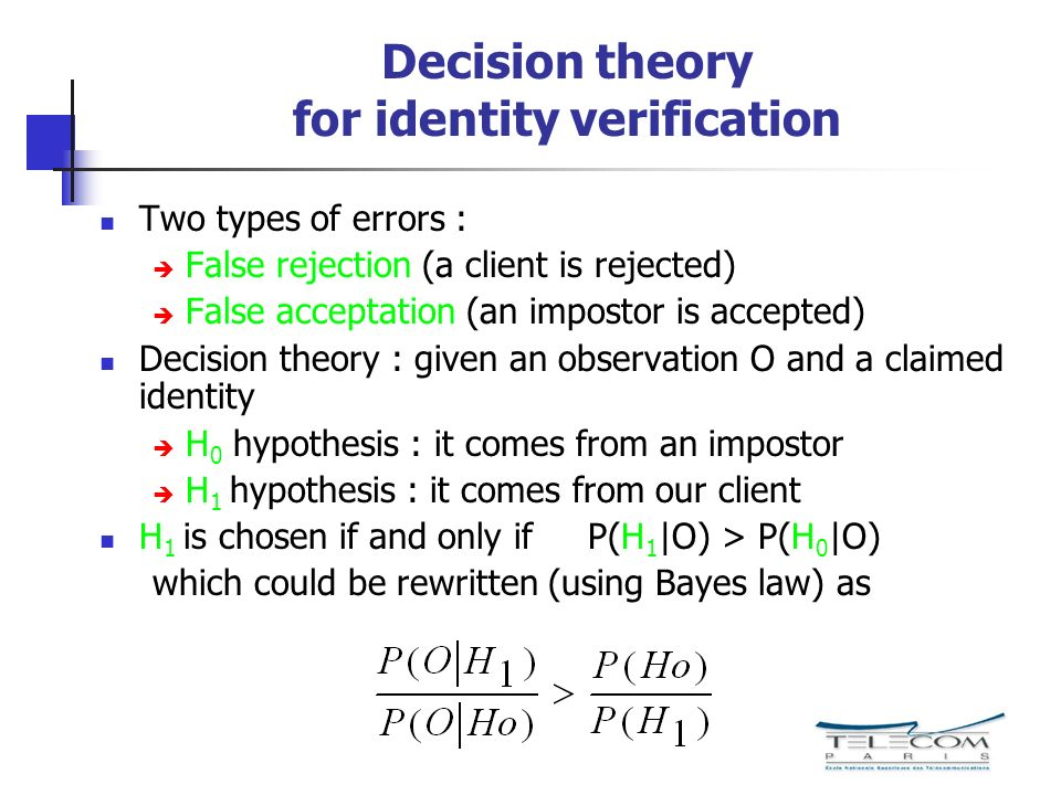 Decision theory for identity verification