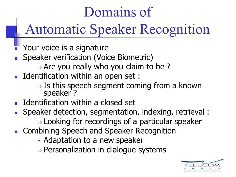 Domains of Automatic Speaker Recognition