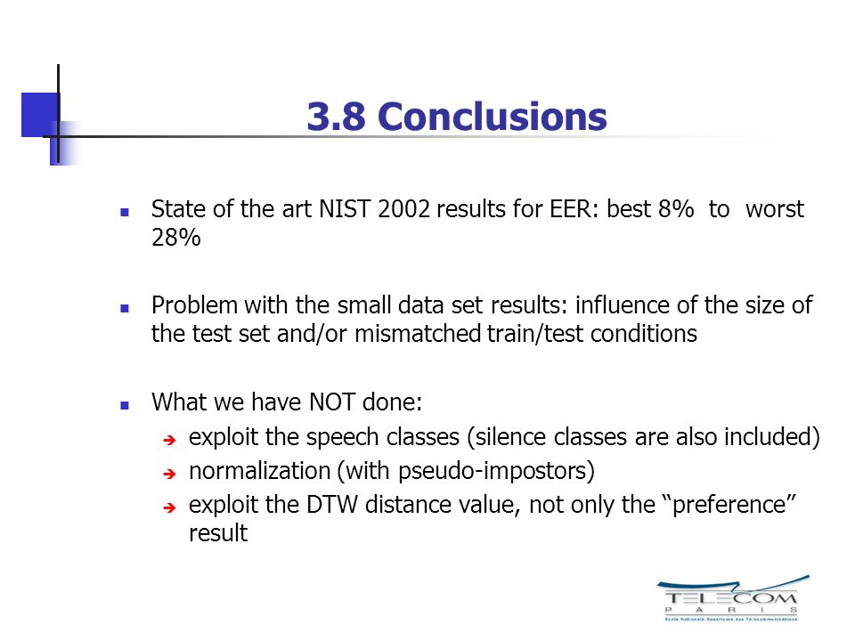 3.8 Conclusions State of the art NIST 2002 results for EER: best 8% to worst 28%