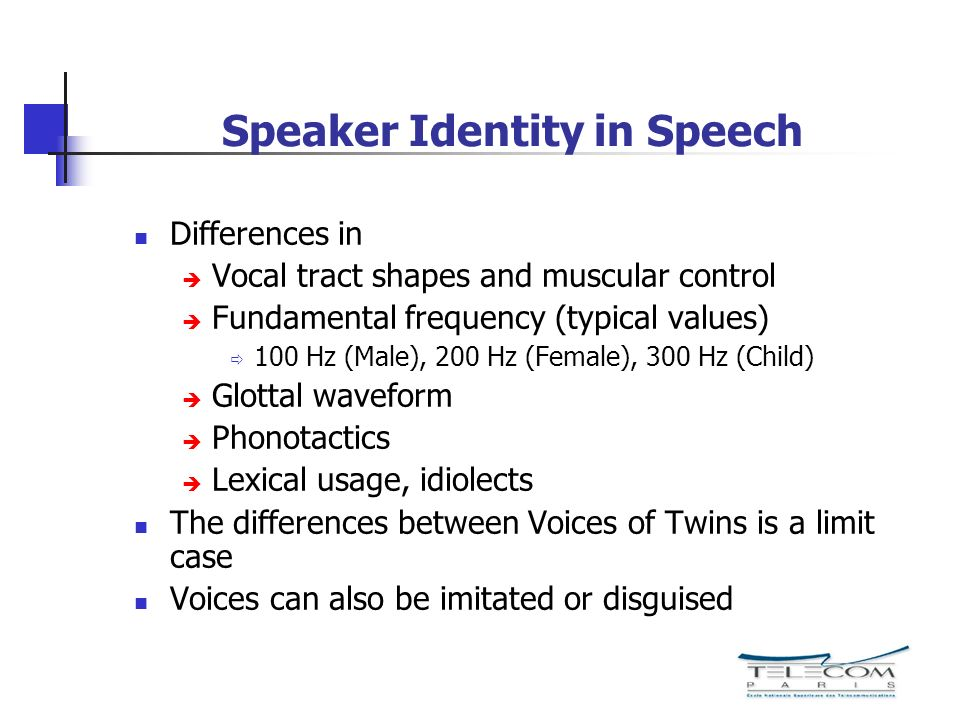 Speaker Identity in Speech