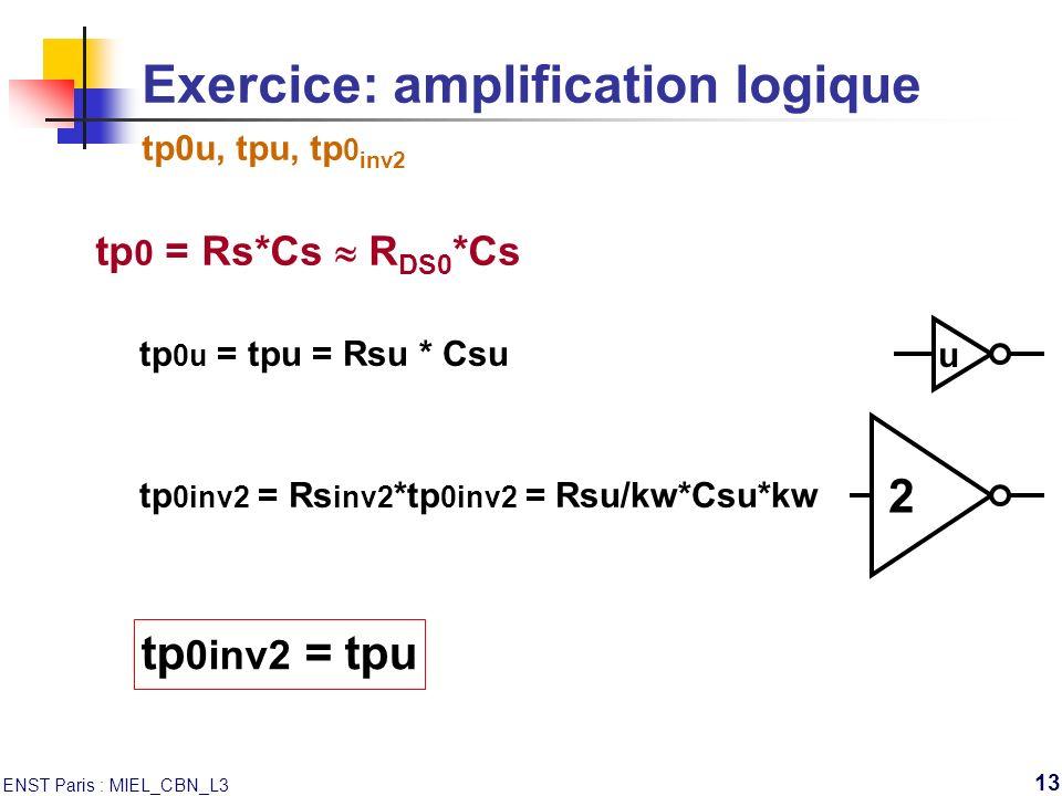 Exercice: amplification logique tp0u, tpu, tp0inv2