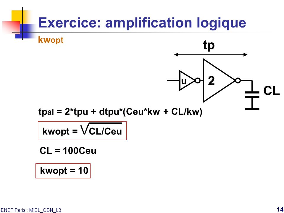 Exercice: amplification logique kwopt