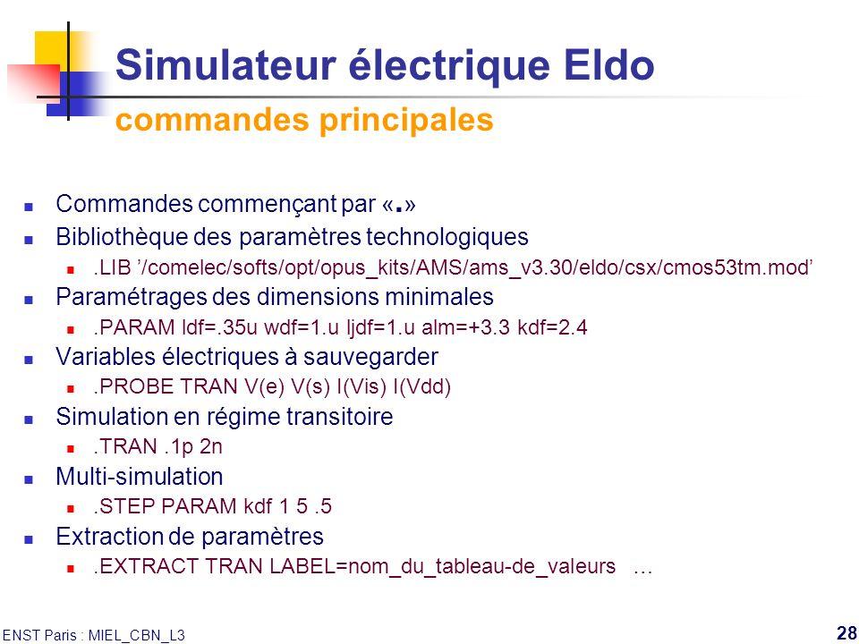 Simulateur électrique Eldo commandes principales