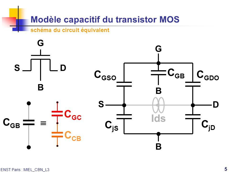 Modèle capacitif du transistor MOS schéma du circuit équivalent