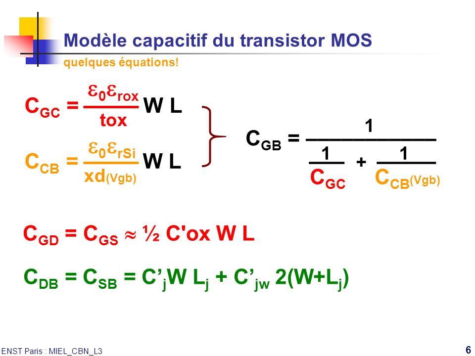 Modèle capacitif du transistor MOS quelques équations!
