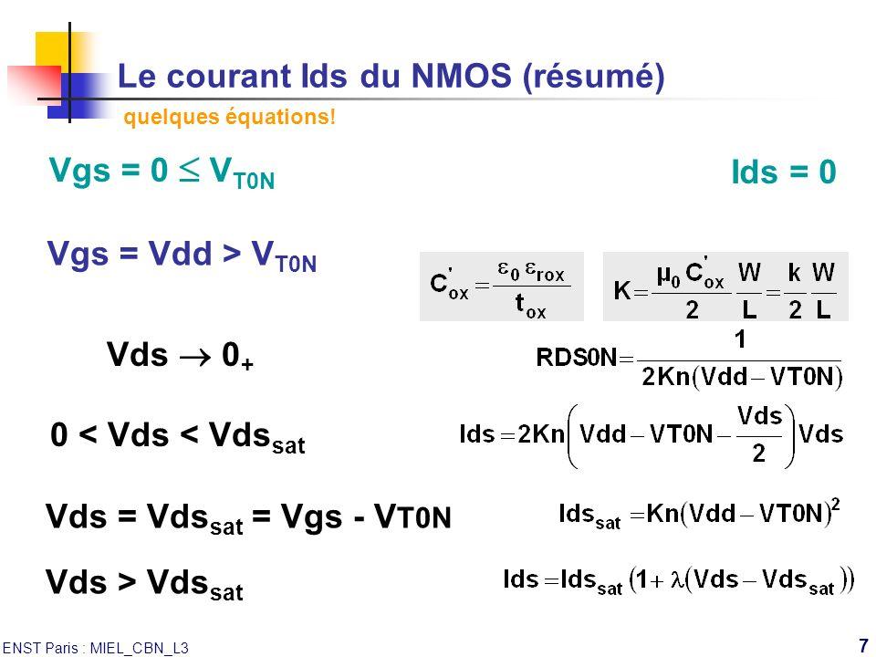 Le courant Ids du NMOS (résumé) quelques équations!