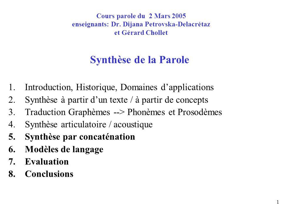 Cours parole du 2 Mars 2005 enseignants: Dr