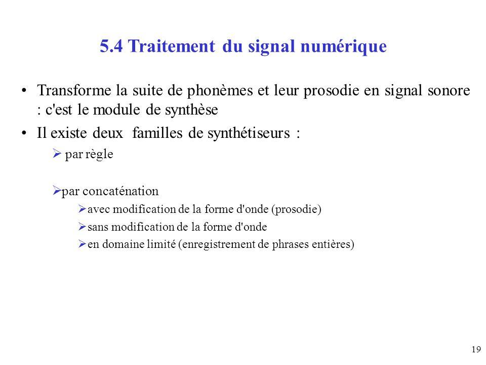 5.4 Traitement du signal numérique