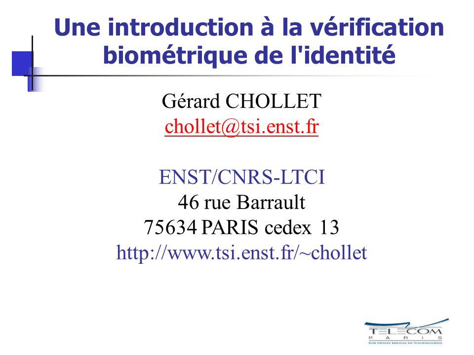 Une introduction à la vérification biométrique de l identité