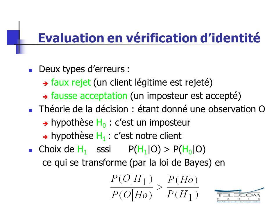 Evaluation en vérification d'identité
