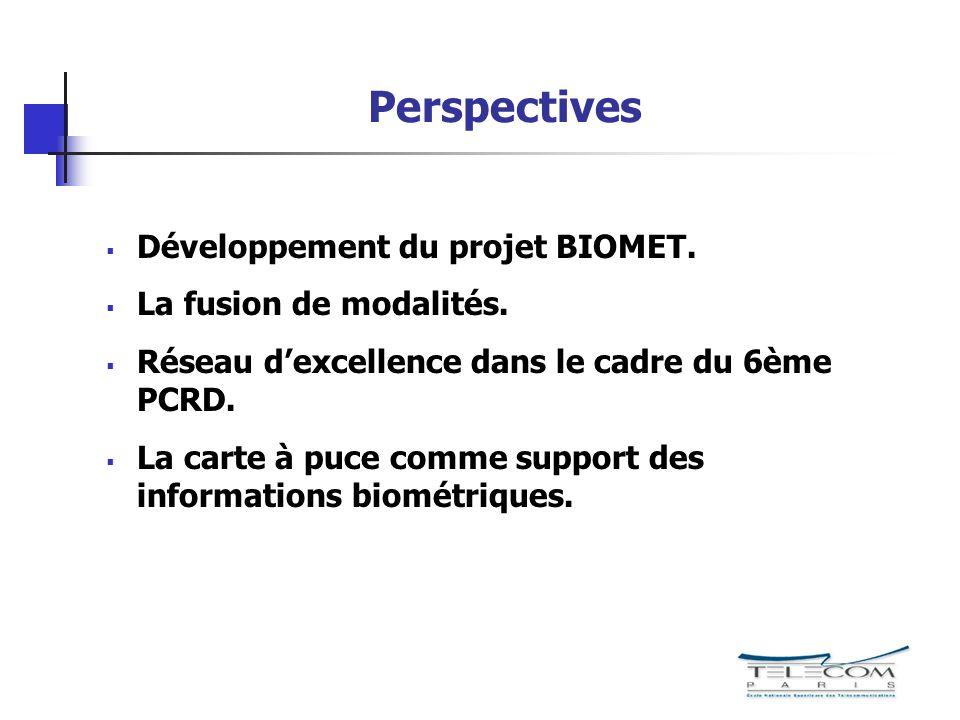 Perspectives Développement du projet BIOMET. La fusion de modalités.