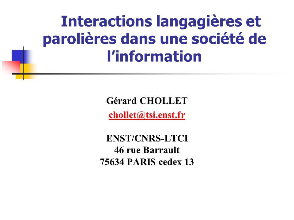 Interactions langagières et parolières dans une société de l'information