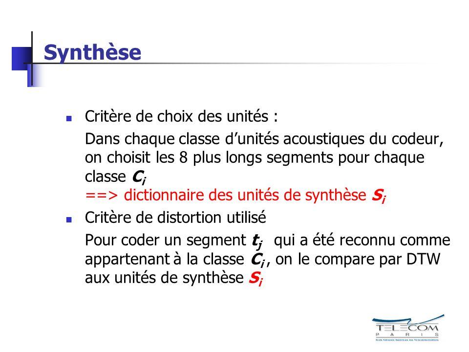 Synthèse Critère de choix des unités :