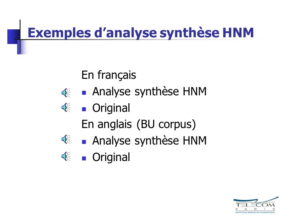 Exemples d'analyse synthèse HNM