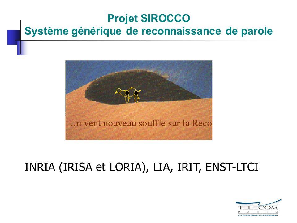 Projet SIROCCO Système générique de reconnaissance de parole