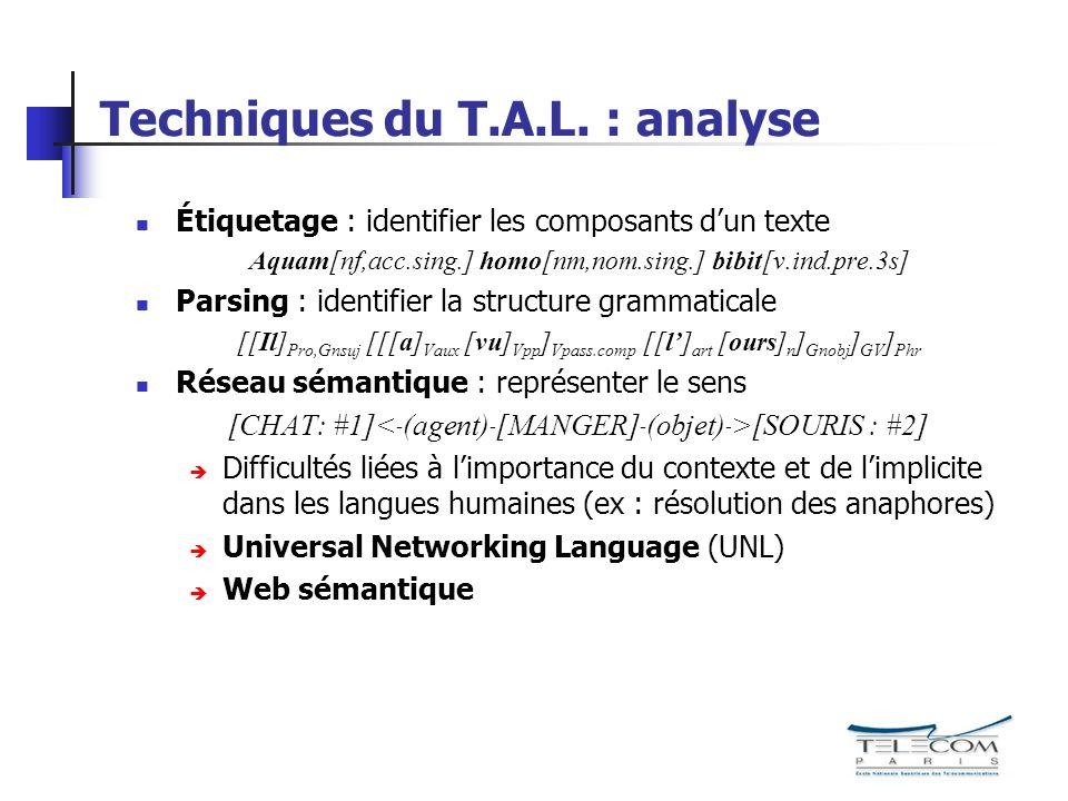 Techniques du T.A.L. : analyse