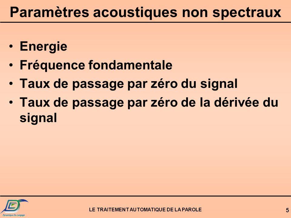 Paramètres acoustiques non spectraux