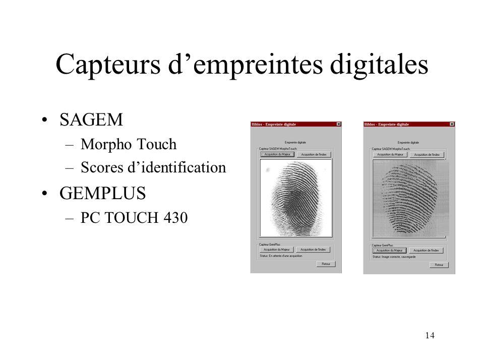 Capteurs d'empreintes digitales