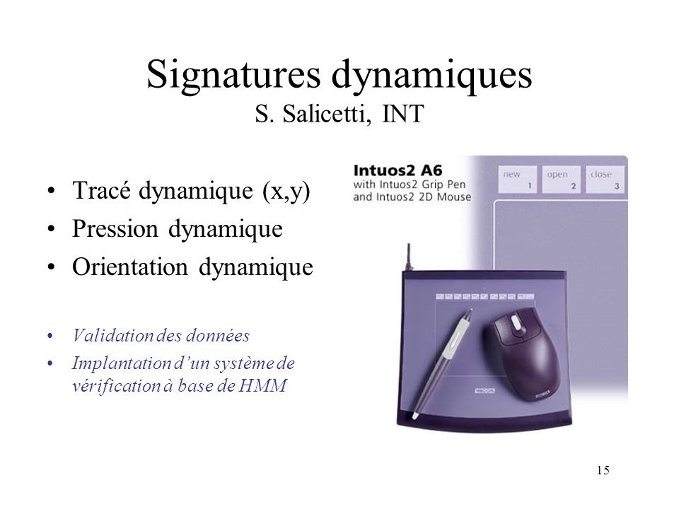 Signatures dynamiques S. Salicetti, INT