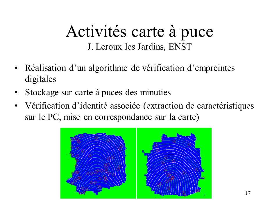Activités carte à puce J. Leroux les Jardins, ENST