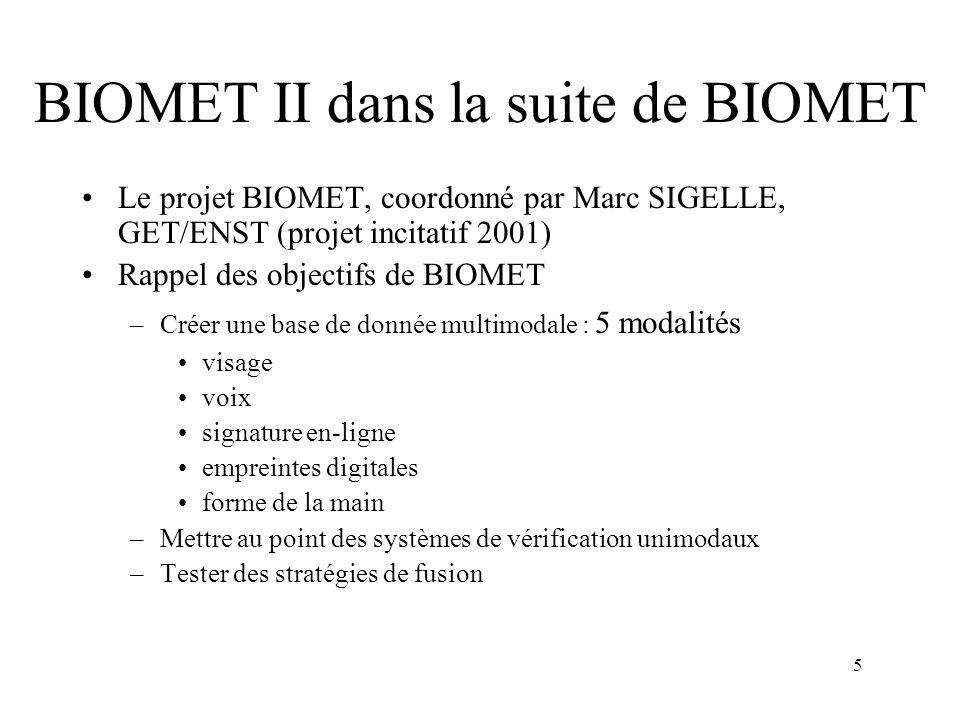 BIOMET II dans la suite de BIOMET